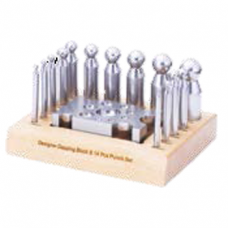 Dapping Punch Set of 14 with Designer Block on Wood Stand